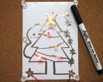 銀インクペンによるLEDクリスマスカード