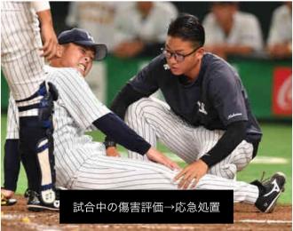試合中の傷害評価→応急処置